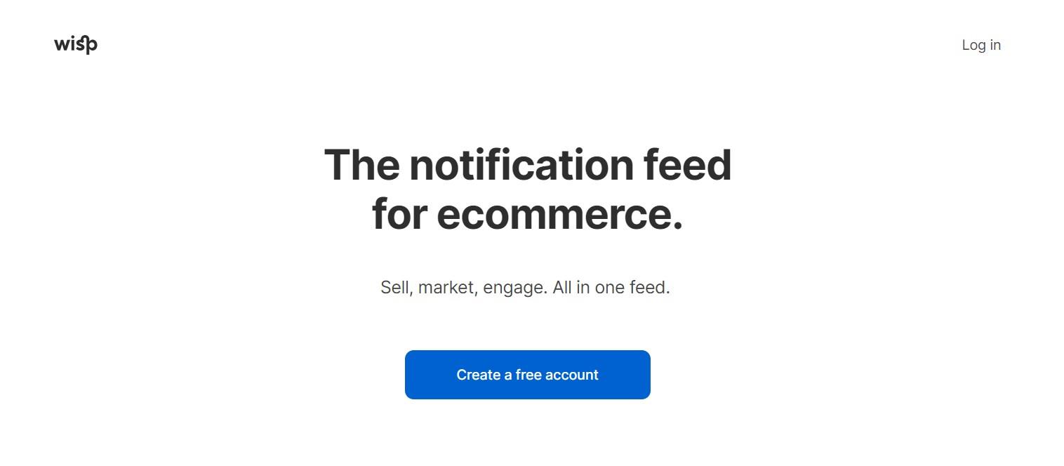 solution notification wisp - screenshot homepage (2020-05-02, getwisp)